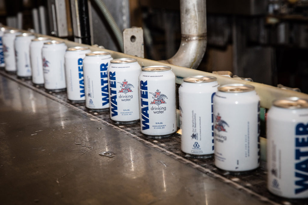 Anheuser-Busch drinking water cans