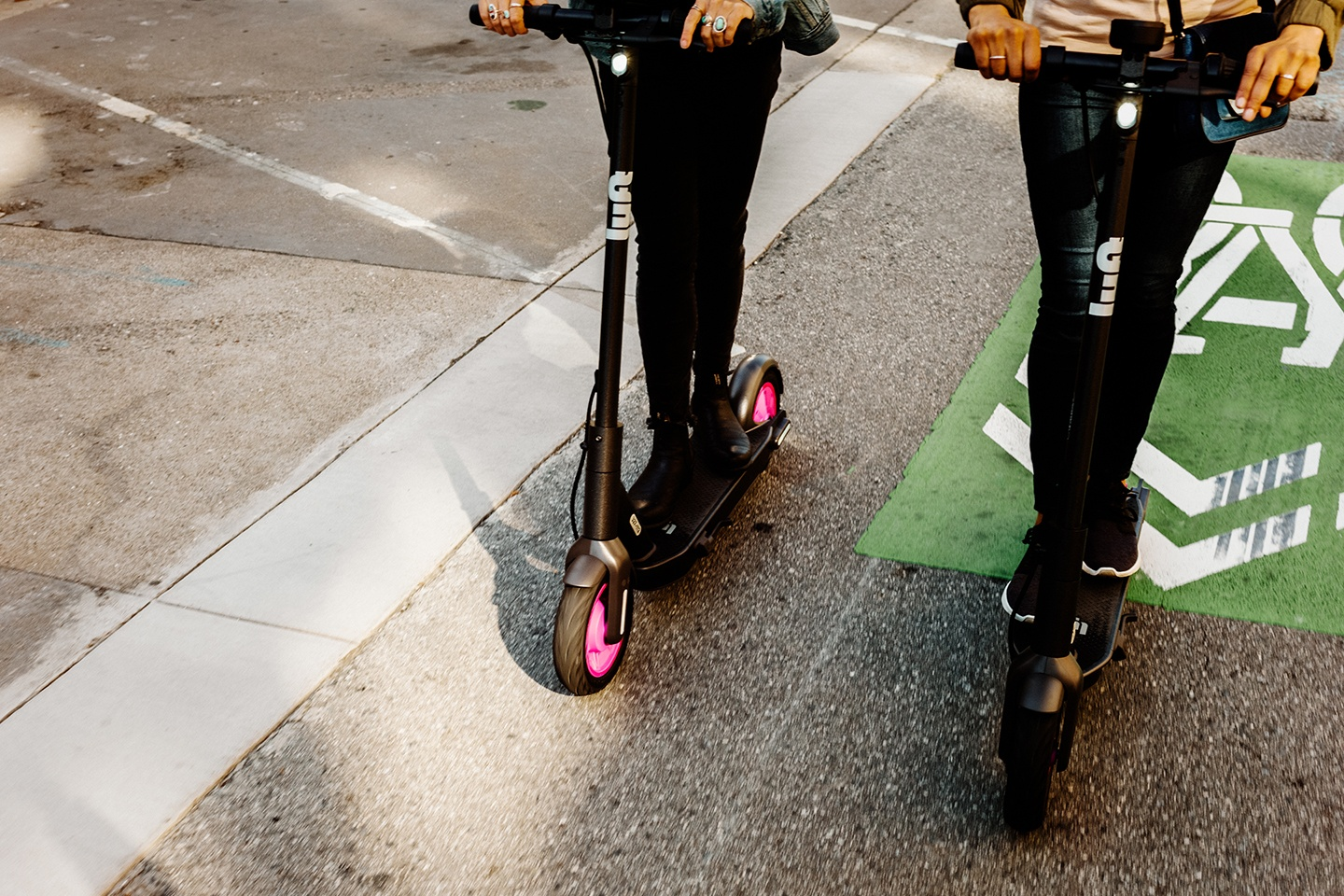 Lyft scooters on street