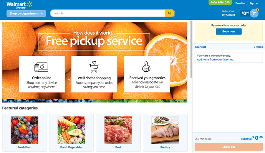 Walmart pick up service website page